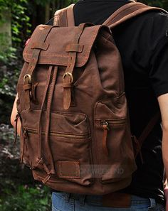 "#Canvas Vintage School Hiking Outdoor #Backpack - 17"" padded Laptop compartment"