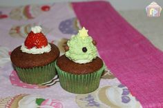 Cupcakes de chocolate y fresas SIN GLUTEN NI LACTOSA, especial Navidad