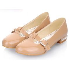 Cute Latte Patent Leather Flat Fashion Prom Party Dress Mary Jane Shoes SKU-1090746