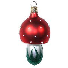 Heirloom Ornaments from the Czech Republic Blown Glass Christmas Ornaments, Christmas Bulbs, Christmas Ideas, Xmas, Glass Mushrooms, German Christmas, Green Glitter, Vintage Ornaments, Yule