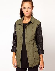 River Island Leather Look Sleeve Army Jacket