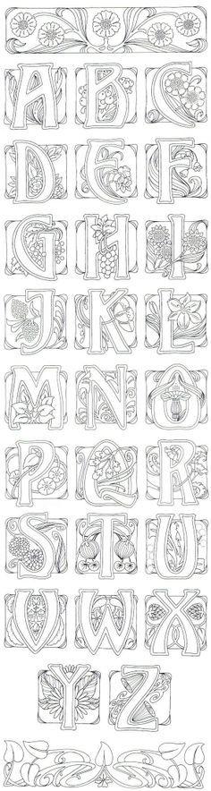 Art Nouveau- art journal idea: illustrate an alphabet. Colouring Pages, Coloring Books, Alphabet Coloring, Creative Lettering, Letter Patterns, Monogram Fonts, Monograms, Illuminated Letters, Calligraphy Fonts
