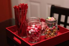 Candy bar at a Galentine's Day get-together