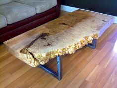 Reclaimed thick Maple Burl live edge wood slab coffee table with a beautiful gloss finish and square metal legs. This rare Maple Burl coffee table has… Coffee Table Legs, Walnut Coffee Table, Driftwood Furniture, Cool Furniture, Braun Design, Furniture Packages, Pine Table, Maple Burl, Bed Table