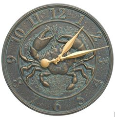 "Crab Sealife Clock: The Whitehall Products Crab Sealife Clock offers long-lasting sealife charm and beauty for garden and patio areas, porches, as well as indoor areas. This fully functional 16"" diameter clock shows the time while adding to your decorative theme. It's made of rust-free recycled aluminum and finished with an upscale weather-resistant paint."