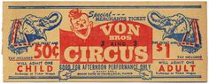 When thinking about invites to a circus themed party taking inspiration from a real circus ticket is a the best idea. This vintage style ticket is an excellent example of the type of font and images you would use when trying to recreate the circus feel.