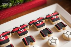 Fun football themed uniform cookies