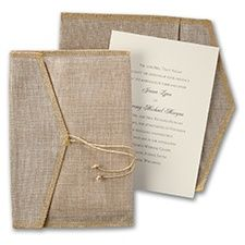 Positively Rustic - Invitation  Let your rustic style stand out with this unique, ecru invitation with burlap inner envelope.