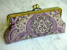 Metal-frame clutch handbag purse bridal clutch bag cotton women bags nice cosmeticbag lilac cream