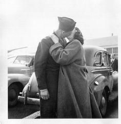 Vintage Photo..The Goodbye Kiss 1940's, Original Photo, Old Photo Snapshot…