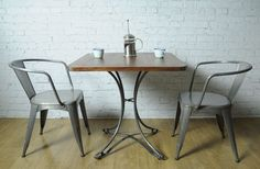 Contemporary Cafe Table, solid wooden top with steel legs, french cafe style