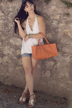 Strangeness and Charms: SHOOTING: dreaming of summer - white neckholder shirt, blue denim shorts, gamiss bag.