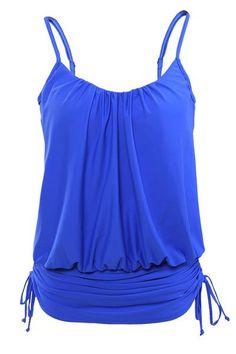 Women Blue Spaghetti Strap Tankini Swimwear Tops