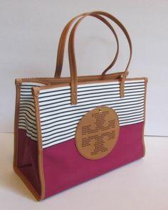 eca61b0a343d Tory Burch Viva Wildflower stripe mini tote purple tan leather coated canvas  new Tan Leather