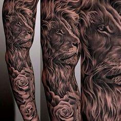 Lion sleeve by Jun Cha.... Incredible!