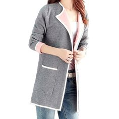 Womens Long Knitted Open Cardigan Long Sleeve Coat Jacket Contrast Color >>> Click image to review more details. (This is an affiliate link and I receive a commission for the sales) #Sweaters
