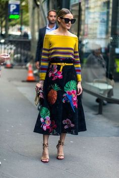 232 fall outfit ideas to try from the best street style at Paris Fashion Week:Olivia Palermo wears an off-the-shoulder sweater and midi skirt