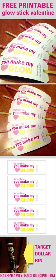 The Hansen Family: Easy peasy kids Valentine's Day treats: FREE PRINTABLES for glowsticks. ME(use glow straws @ walmart party isle Funny Valentine, Kids Valentines Day Treats, Kinder Valentines, Valentine Day Love, Valentine Day Crafts, Valentine Ideas, Valentine Party, Valentinstag Party, Happy Hearts Day