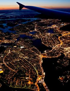 Beautiful city of Stockholm by night.
