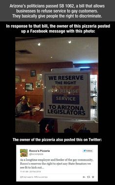 Arizona pizzeria's amazing response to anti-gay bill…