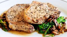 Herb Pork Chops – Served on a bed of Mushrooms and Arugula on http://www.wishfulchef.com