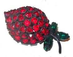 Red Strawberry Brooch Pin Signed Warner Green Red Rhinestones Japanned Metal Vintage | 21 Vintage Street