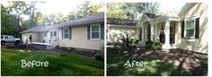 Our Rancher before and after. Added additional garage space, barrell vaulted front porch and gables to both ends of the house. Let http://Contractors4you.com Find your contractor fast Use our free service-Also free leads for contractors