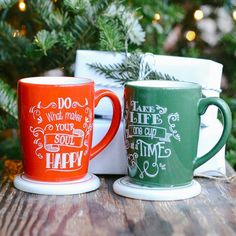 For the ☕️ lover: Avon Living Inspirational Mug Gift Set with coasters that can double as 🎄 ornaments! #AvonRep www.youravon.com/maureenmayer