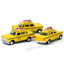 http://www.nycwebstore.com/new-york-city-diecast-taxi-car/ Die cast New York City taxi toy. At 4.5 inches, these NYC Taxis are great for placecard holders and gifts.