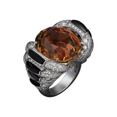 High Jewelry ring White gold, one 33.42-carat brown tourmaline, obsidian, brilliants.