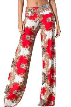 Sexy Fold Over Waist Red Damask Print Yoga Palazzo Wide Leg Pants