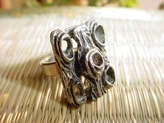 Vintage Tree Trunk Bark Ring 4 1/2 Adjustable Renaissance Garb Pewter tone #Unbranded Seller florasgarden on ebay