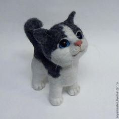 Котик Буська - серый,кот,котик,котенок,игрушка из шерсти,авторская игрушка