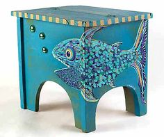 Hand-painted FISH Wooden Shoeshine Box by Aimée K. Banion of High Tide Gallery.