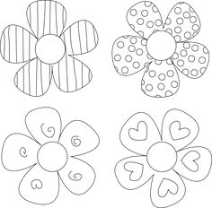 Free Digital Stamp - Four Funky Flowers Free Digital Stamp