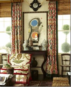 On the windows, toss out metal and wooden blinds. Instead, choose textured bamboo blinds or fabric shades. Be sure to hang the blinds as high to the crown molding as possible to elongate the line. Use ethnic prints for curtains over the blinds. Ikat Curtains, Blinds Curtains, Burlap Curtains, Window Blinds, Room Window, Window Seats, Hanging Curtains, Window Panels, Interior Exterior