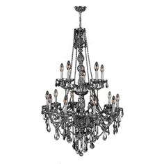 """Venetian Italian Style 15 Light Chrome Finish and Smoke Crystal Chandelier Two 2 Tier Large 33"""" x 52"""" $689"""