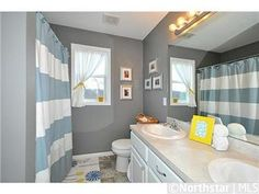 Bathroom Kids boy & girl shared bathroom/ neutral with pops of color | designed