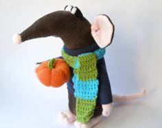 plush rat with pumpkin soft sculpture, autumn rat, stuffed rat doll, Halloween rat home decor