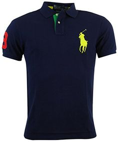 Polo Ralph Lauren Mens Custom Fit Big Pony Mesh Polo Shirt Polo Ralph Lauren  is the pinnacle of fashion and design. These tri colored big pony polos are  ...