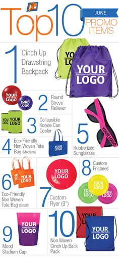 The top 10 promo products in June... Let's take a look at what people are buying! #promotionalproducts