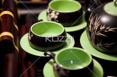 tea pot set - Elegant tea pot set with bamboo patterns.