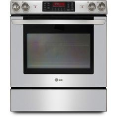 LG Stainless Steel Smoothtop Electric Slide-In Range - Convection: Slide-in Electric Range 4 Radiant Elements 3 Oven Racks cu. Gas And Electric Ranges, Slide In Range, Cool Slides, Kitchen Island Decor, Cooking Appliances, Kitchen Appliances, Gas Oven, Range Cooker, Water Heating