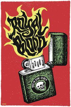 Royal Blood by We Three Club #gig #poster #art - Se você gosta de Música Rock e ainda não conhece os duo Royal Blood está na hora de conhecer! http://mundodemusicas.com/duo-royal-blood/