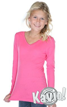 Sheer Jersey V Neck Long Sleeve Sizes Zip Ups, Long Sleeve Shirts, V Neck, Big, Girls, Cotton, Style, Toddler Girls, Swag