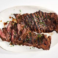 Juicy and delicious, skirt steak cooks quickly for an impromptu BBQ. Serve this with colorful and flavorful chimichurri sauce.