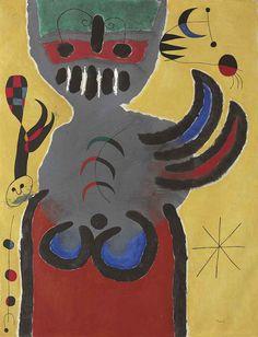 Joan Miró (Catalan/Spanish, 1893-1983), La tige de la fleur rouge pousse vers la lune [The Stem of the Red Flower Grows Toward the Moon], 1952. Oil on canvas, 91.8 x 71.4 cm.