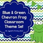 This is a 100+ page classroom decor pack with a blue and green chevron with frogs theme.  The printable materials will help you create an organized...