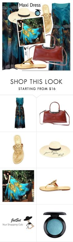 """Maxi dress"" by mada-malureanu ❤ liked on Polyvore featuring Tory Burch, Karl Lagerfeld and MAC Cosmetics"