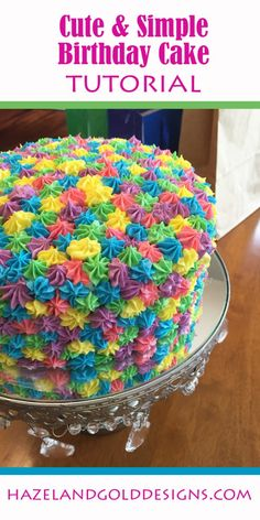 Find out here how to make this cute, simple birthday cake. All you need are a few colors and one frosting tip, it's so easy and looks great!
